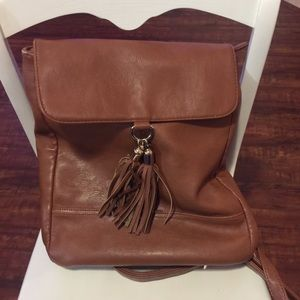 Tan backpack purse